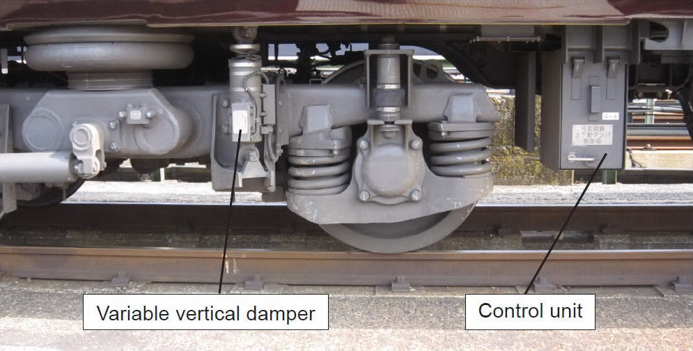 Vibration Suppression System Using Variable Vertical Dampers which suppresses vertical car body vibration and improves riding comfort