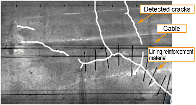 Image analysis detects only the cracks in the lining reinforcement material
