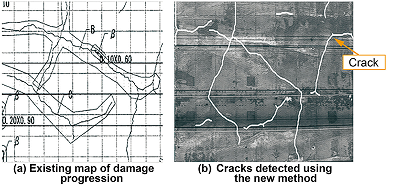 Comparison with man-made crack damage map